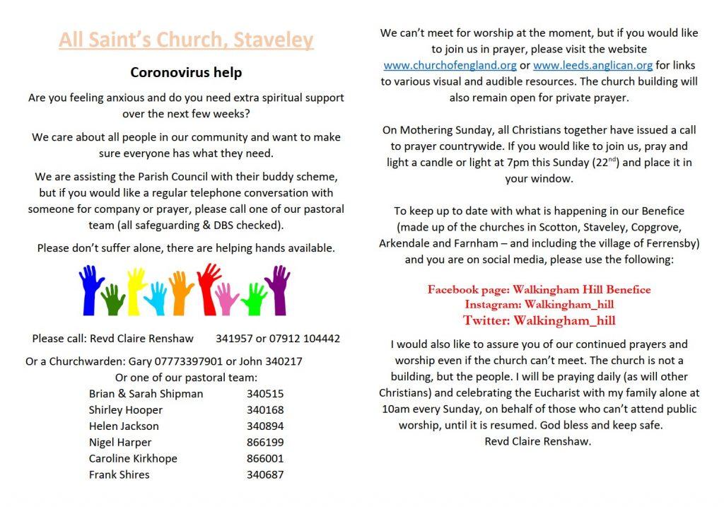 All Saint's Church leaflet about coronavirus help.